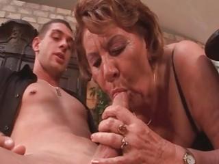 Horny 50yo granny sucks on a young guys cock