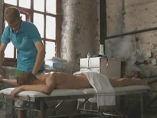Guy wanking off on his patient during a massage
