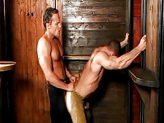 Turned on handsome gay cowboys ride each others dick doggy style
