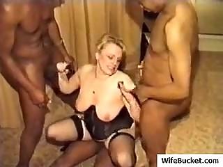 Kinky mature amateur wife hardcore interracial gangbang cuckold