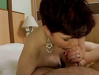 Granny does blowjob and gets fucked hard