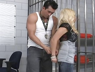 Blonde milf fuck a hard cock in jail