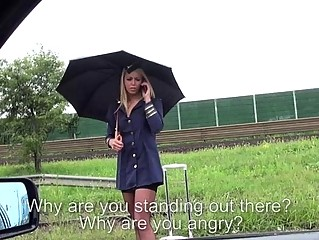 Stewardess gets banged for hitchhiking from a stra