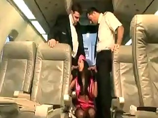Hot stewardess slut joins the mile high club