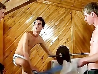 Gay video He gets some pipe from both, gargling them off as he gets