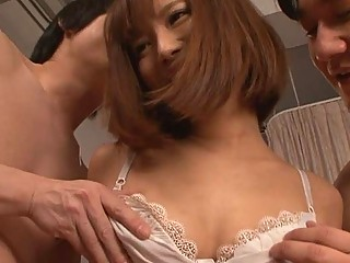 Two horny guys and an Asian girl's hot threesome