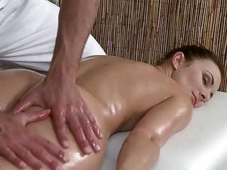 Muscled masseur bangs brunette babe