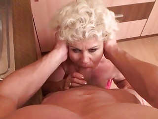 Naughty granny gives blowjob and gets fucked in PO