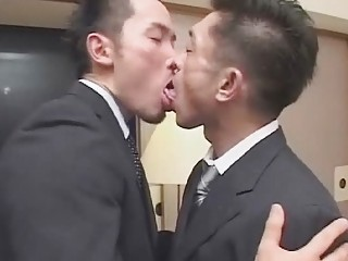 Gay Japanese businessman suck each others small hairy fuck sticks
