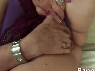 Blonde chubby granny sucking sideways big dong