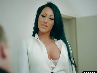 Busty brunette is more interesting in cock then in business