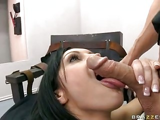 Bitchy shorthaired Dylan Ryder takes her mans lovegun in her filthy mouth