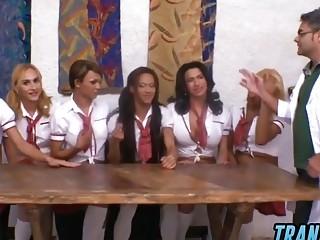 Group of hot shemale schoolgirls gangbangs their teacher