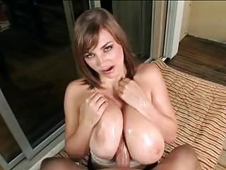Big breasted brunette cutie swallows a fat dick in POV
