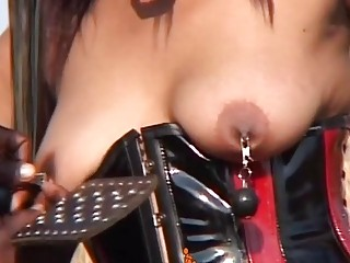 Tight ebony beauty loves a bit of boob torture