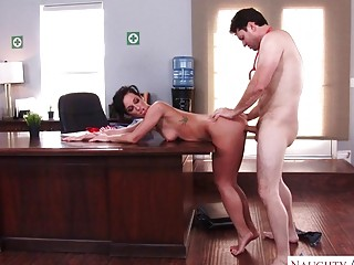 MILF with short hair fucked balls deep in an office