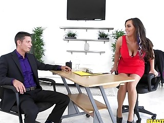 Secretary with big tits enjoys hard cock in an office