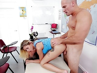 Adorable young blonde impaled and pounded hardcore in the classroom