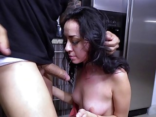 Poor brunette is humiliated and dominated while sucking a cock