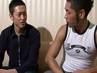 Asian guy trying to raise his boyfriend cock