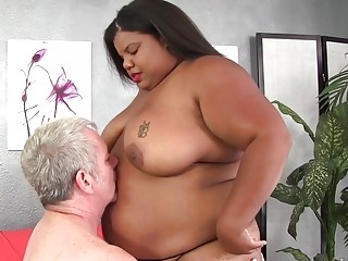 Fat Ebony Slut Peaches Love Gorges Herself on Old White Cock