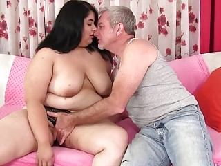 Fat Floozy Paige Jenson Bends over for a Hard Pounding by a Grandpa