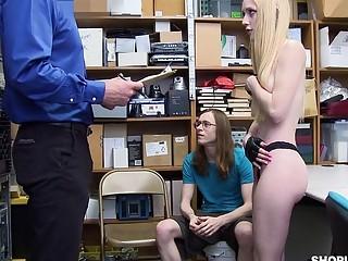 Cuck boyfriend watches girlfriend fucked when she's caught stealing stuff