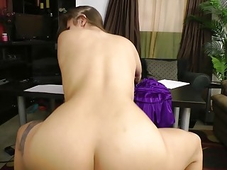 Blonde ballerina babe gets fucked from behind and rides dick