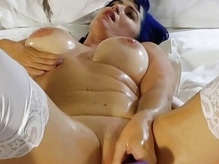 Oiled up sluts have fun with dildos while streaming live