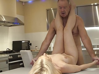 Trophy girlfriend fucked by her old sugar daddy