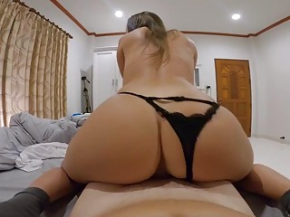 Amateur hottie with a big ass sucks and rides POV