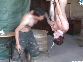 Randy gay stud in military pants gets bound and boned